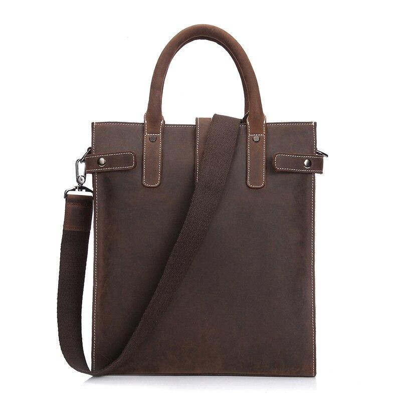2019 new Genuine Leather Business Men's Briefcase Office Laptop Bag vintage simple Pure color work bag men coffee men bag male