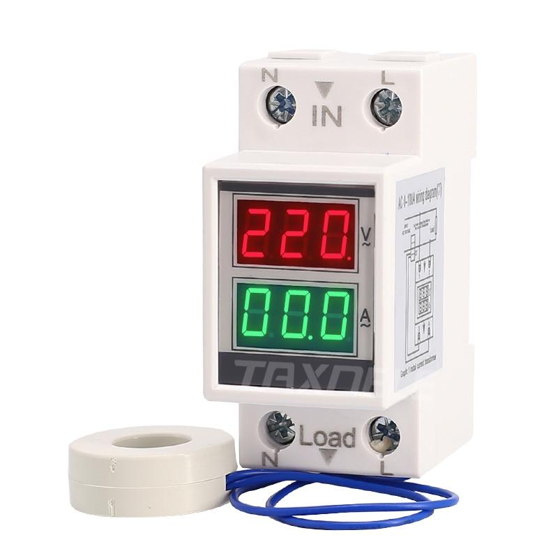 Din-рейка AC 160-275 В 0-100A 60A Вольтметр Амперметр светодиодный дисплей панель Измеритель Напряжения тока с трансформатором