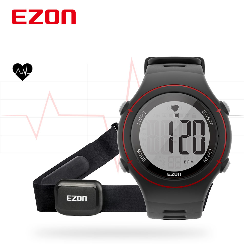 EZON Monitor Chronograph Sport-Watch Digital-Alarm Electronic-Wristwatches Heart-Rate