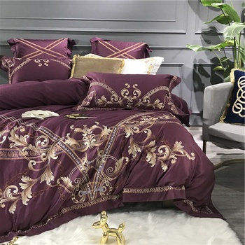 Gold Luxury Embroidery Purple Blue Green White 80S Egyptian Cotton European Palace Bedding Set Duvet Cover Bed sheet Pillowcase