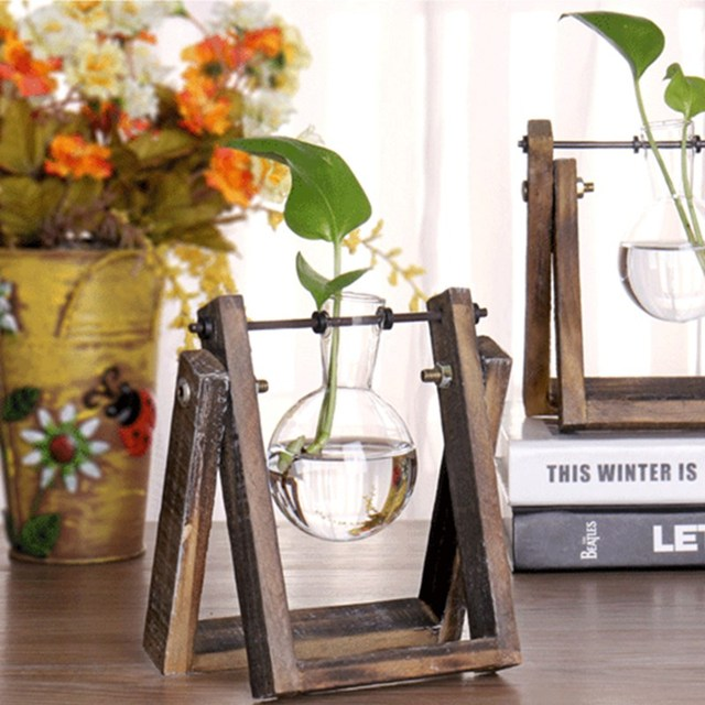 Vintage style glass vase adjustable tabletop plant bonsai flower vintage style glass vase adjustable tabletop plant bonsai flower wedding decorative with wooden tray home decoration junglespirit Images