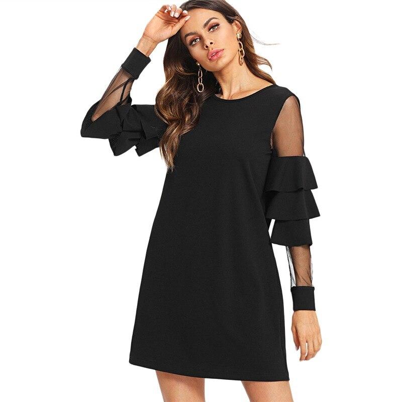 37314d9c94 Sheinside Ruffle Sleeve Black A Line Work Dress Round Neck Contrast Mesh  Tiered Layer Straight Women