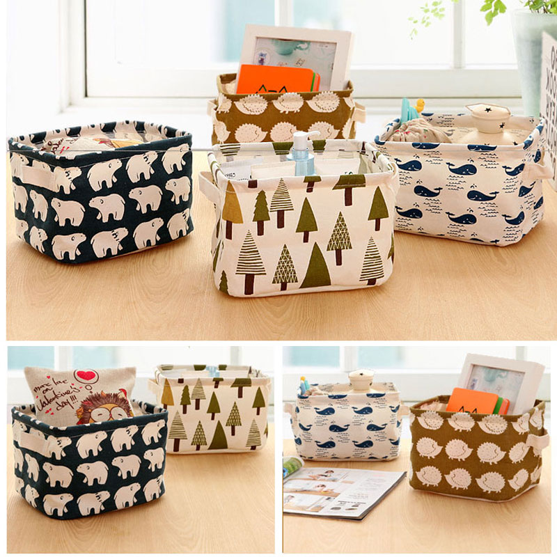 new cartoon linen desk storage box home cotton organizer case jewelry cosmetic stationery sundries cute animal