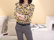 hot sale! Geometry color block  woman blouses 100% silk fashion leisure shirt crepe-de-chine long-sleeve female shirts-07