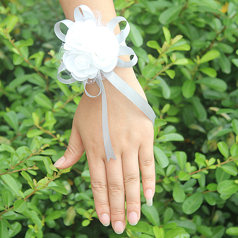 WifeLai-A PE Rose Hand Wrist Flower with ribbon Wedding Accessories for Wedding Bride Boutonniere and Groom SW003