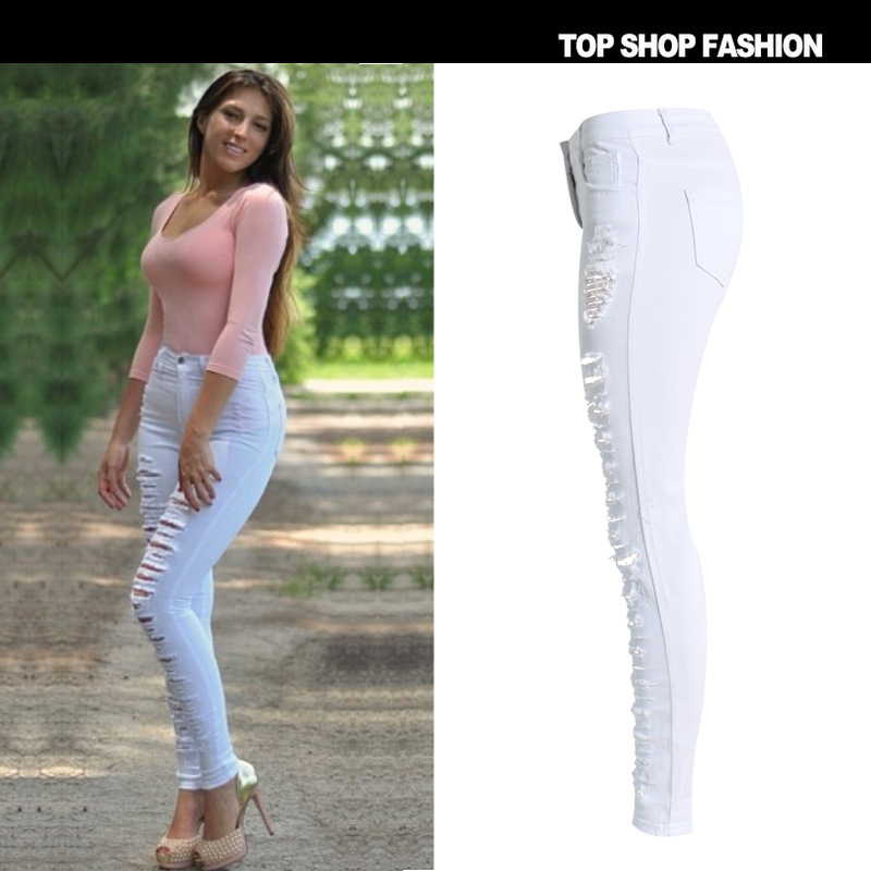 9448c276c917 New Hot Ladies white Ripped Hole jeans Cotton Denim Pants Stretch Womens  Ripped Skinny High Waist Jeans Denim Jeans For Female-in Jeans from Women s  ...