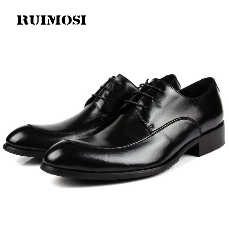 RUIMOSI Elegant Formal Man Bridal Dress Shoes Genuine Leather Wedding Oxfords Luxury Brand Round Toe Derby Men's Footwear VK73