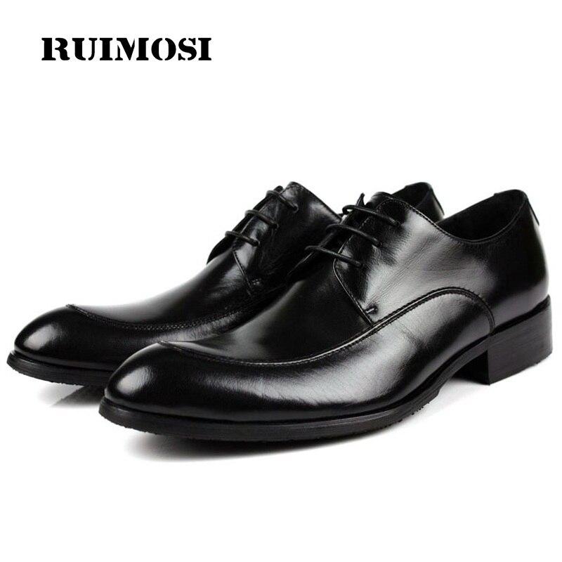 RUIMOSI Elegant Formal Man Bridal Dress Shoes Genuine Leather Wedding Oxfords Luxury Brand Round Toe Derby Men's Footwear VK73