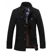 TFGS Slim Fit Winter Trench Coat Wool Long Jacket Outerwear Overcoat