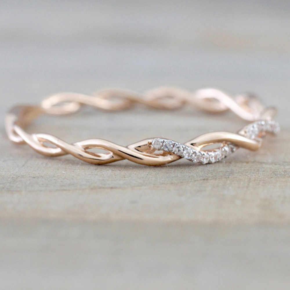 Rose Gold สี Twist คลาสสิก Cubic Zirconia แหวนแต่งงานผู้หญิงสาวคริสตัลออสเตรียของขวัญแหวน Bague Femme