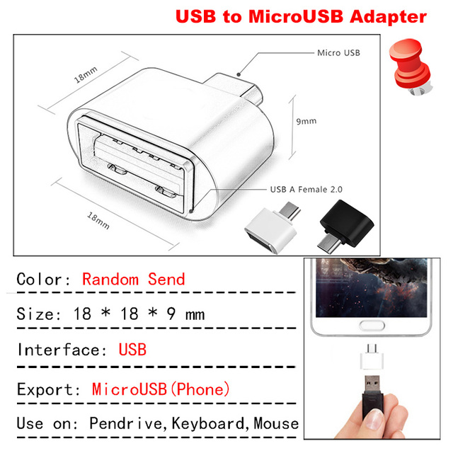 Kawau Micro USB Adapter USB to MicroUSB Adapter Cable Converter for Pendrive USB Flash Drive to Phone Mouse Keyboard OTG A 1