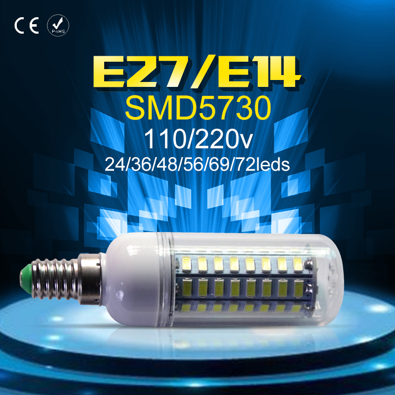 E27 LED Bulb Corn Lamp 24 36 48 56 69 72leds 220V SMD5730 Lampada Ampoule Chandelier Light 240V E14 Candle 3W 5W 7W 12W 15W 20W
