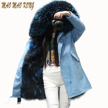 2017 new fashion women luxurious Fox fur liner parkas Large raccoon fur collar hooded coat warm long winter jacket top quality