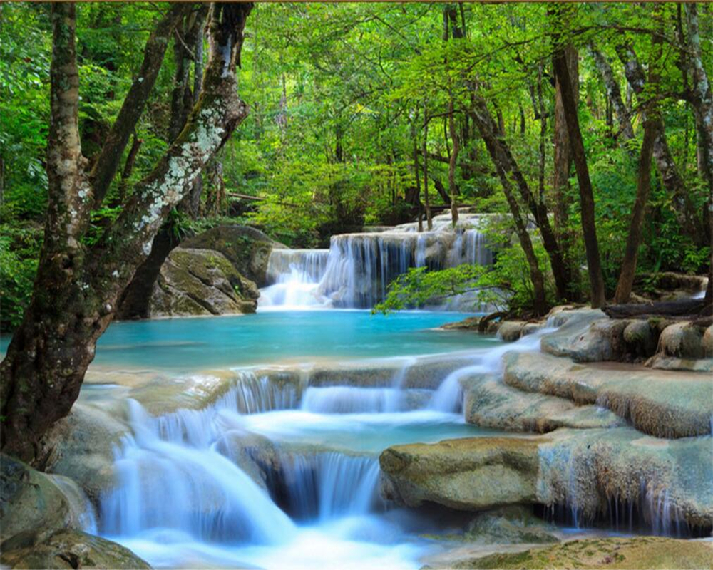 Beibehang 3d Definition Forest Rivers Waterfalls Photos 3d