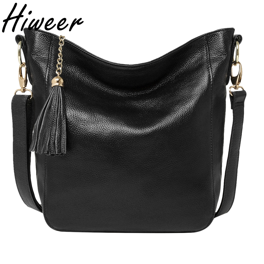 2018 Limited New Arrival Women Bag First Layer Of Leather Ladies Brand Genuine Handbags Tote Big Tassel Bucket Shoulder Bags zency genuine leather small women shoulder tassel bags tote handbags first layer cow leather ladies messenger bag satchel