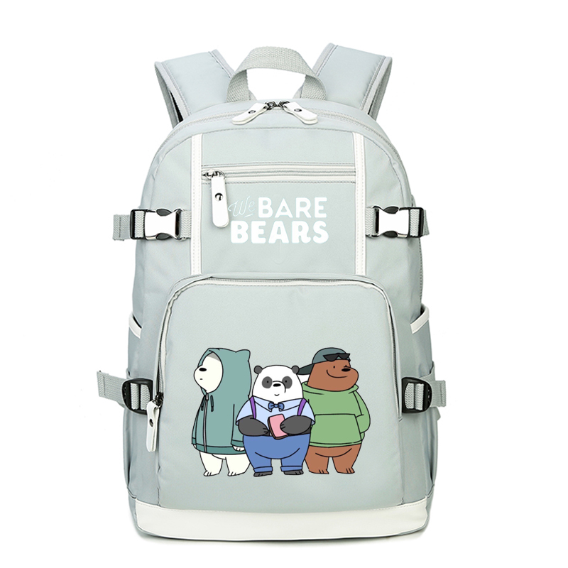 We Bare Bears Kawaii Grizzly Panda Ice Bear Cute Backpack Cartoon School Bags Canvas Laptop Backpack