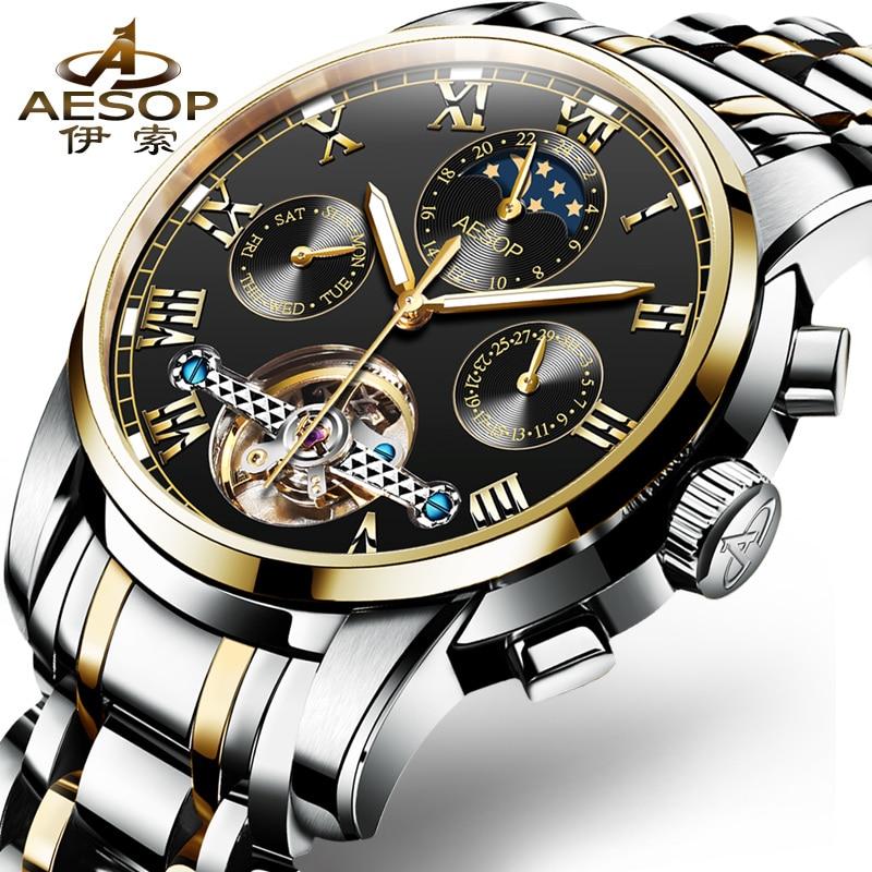 Mens Watches Top Brand Luxury Aesop Men Military Sport Wristwatch Automatic Mechanical Tourbillon Watch relogio masculino 2018