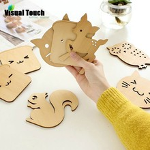 Visual Touch Wood Cute Animal Hollow Wooden Carved Cup Pads Mug Coasters Table Pad Shop Bar Tea Coffee Cup Mat Holder Gift