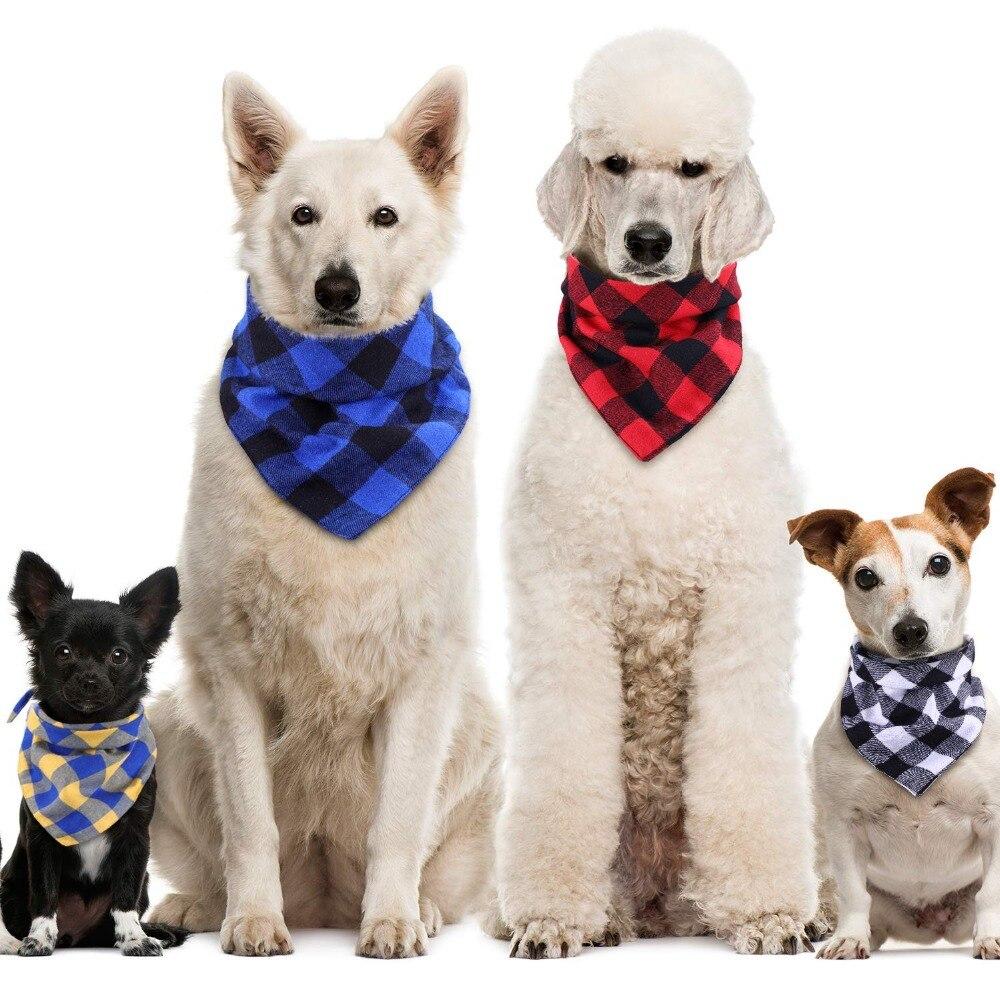 Dog Bandana Cotton Plaid font b Pet b font Scarf Bow ties Collar Square Triangular bandage