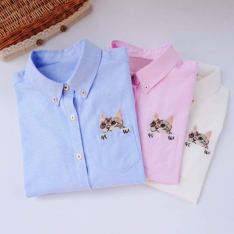 Impresión de bordado Gato en el bolsillo Camisas de señora 2017 Primavera Nueva Moda Blanco Azul Rosa Camisas Blusa Casual Mujeres Tops de manga larga