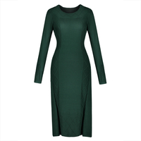 Young17 Autumn Dress Women 2017 Green Knitted Pullover Straight Mid Calf O Neck Long Sleeve Fall