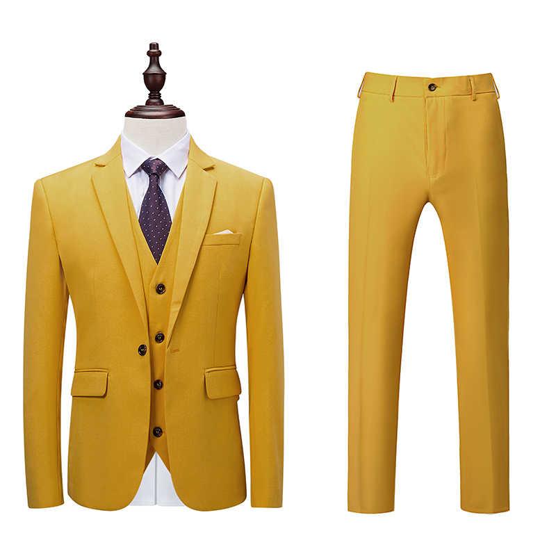 Maravilloso clásico Slim Fit Hombre trajes de fiesta de boda novio esmoquin Formal de Color sólido de los hombres traje de 3 piezas 2018 (Blazer + Pantalones + chaleco)