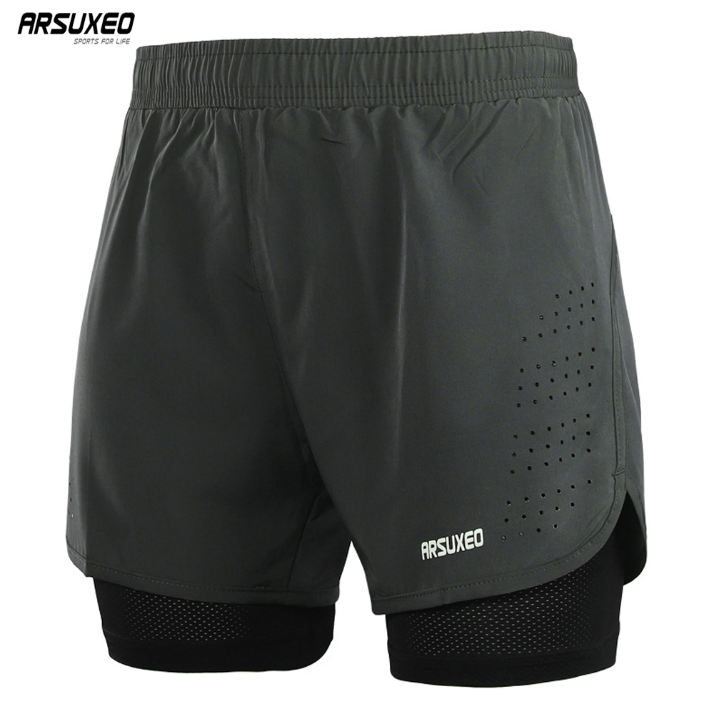 ARSUXEO Men's Running Shorts 2 In 1 Quick Dry Sport Shorts Athletic Training Fitness Short Pants Gym Shorts Workout Clothes B179