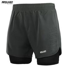 ARSUXEO erkek Koşu Şort 2 in 1 Hızlı Kuru Spor Şort Atletik Eğitim Spor kısa pantolon Spor Şort egzersiz kıyafetleri B179