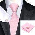 C-327 Rosa Claro Blanco Mens Ties Set Romantic Sakura Lazos de Seda Para Los Hombres de Negocios de La Boda Corbata Hanky Gemelos 8.5 cm Corbatas