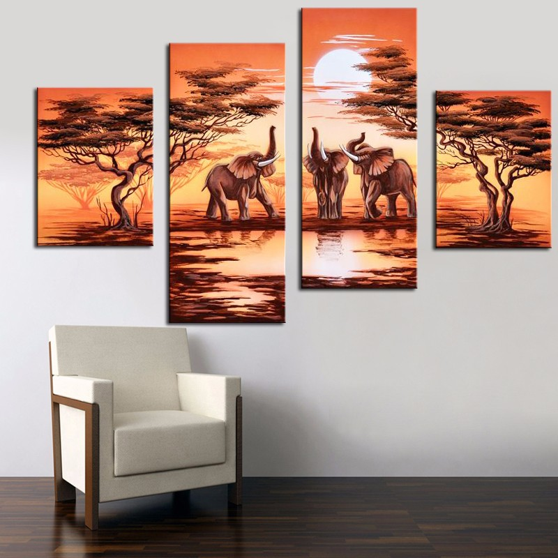 4 Panel Hand Painted Canvas Oil Painting African Safari Modern ...