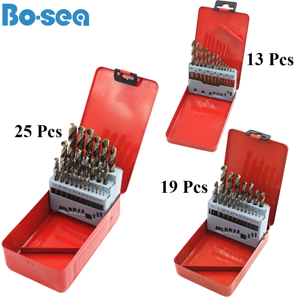 High Quatity HSS-Co M35 Cobalt Straight Shank Twist Drill Bit Tools Accessories for Metal Stainless Steel Drilling professional Color : 19pcs with box