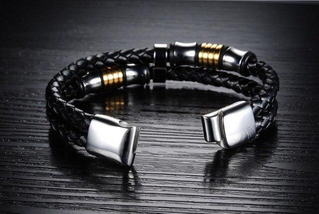 Купить модные кожаные браслеты черного цвета с магнитной пряжкой для