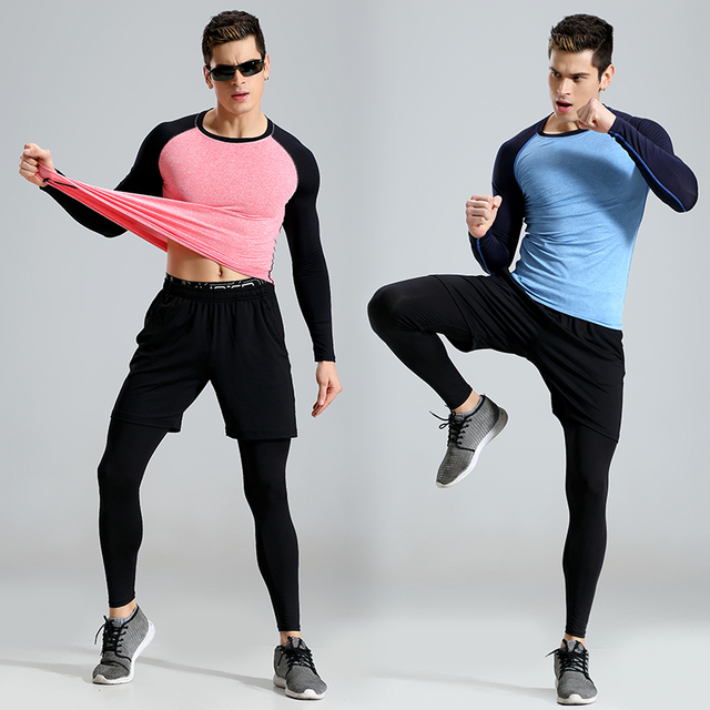 ddb7e6969c7a 2018 New Men's Three-piece Running Suit Boys Tights Training 3PCS Sets GYM  Clothing Cycling Joggers Long Legging Soccer T-Shirts