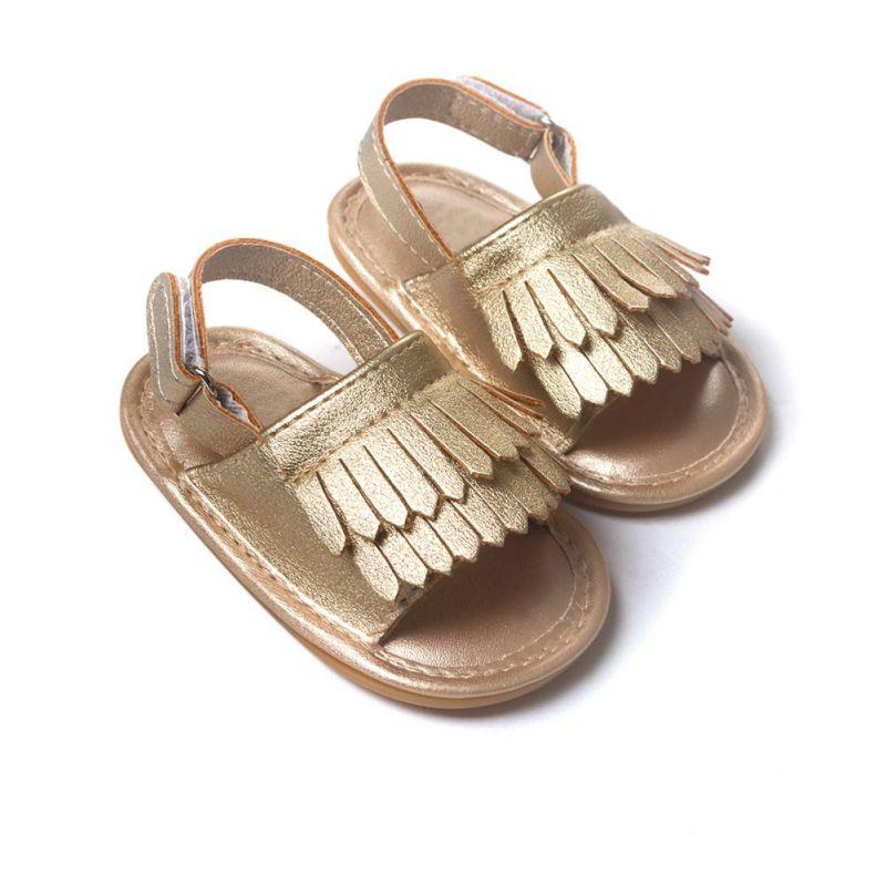Baby Sandals Summer Leisure Fashion Soft Bottom Fringe Candy Color Baby Girls Sandals Children PU Tassel Clogs Shoes