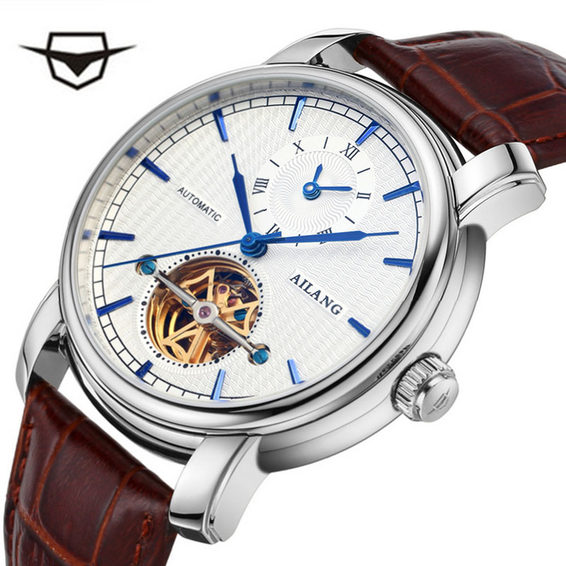 AILANG high quality Tourbillon automatic mechanical watch, business brown leather belt, men watch портмоне mano business 19008 19008 brown