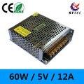 Alta qualidade 60 W 110 V/220 V a 5 V 12A LEVOU adaptador de alimentação/transformador para tira conduzida