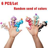 6 Sztuk/partia Fingerlings Glitter Końcówki Małpa Małpa Wzrosła Interaktywne Dziecko Zwierzę Inteligentne Zabawki Cub Inteligentne Elektroniczne Zwierzątko torba zabawny