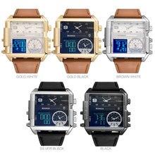 Men Sports Military chronograph digital Watch Leather Rectangle Quartz
