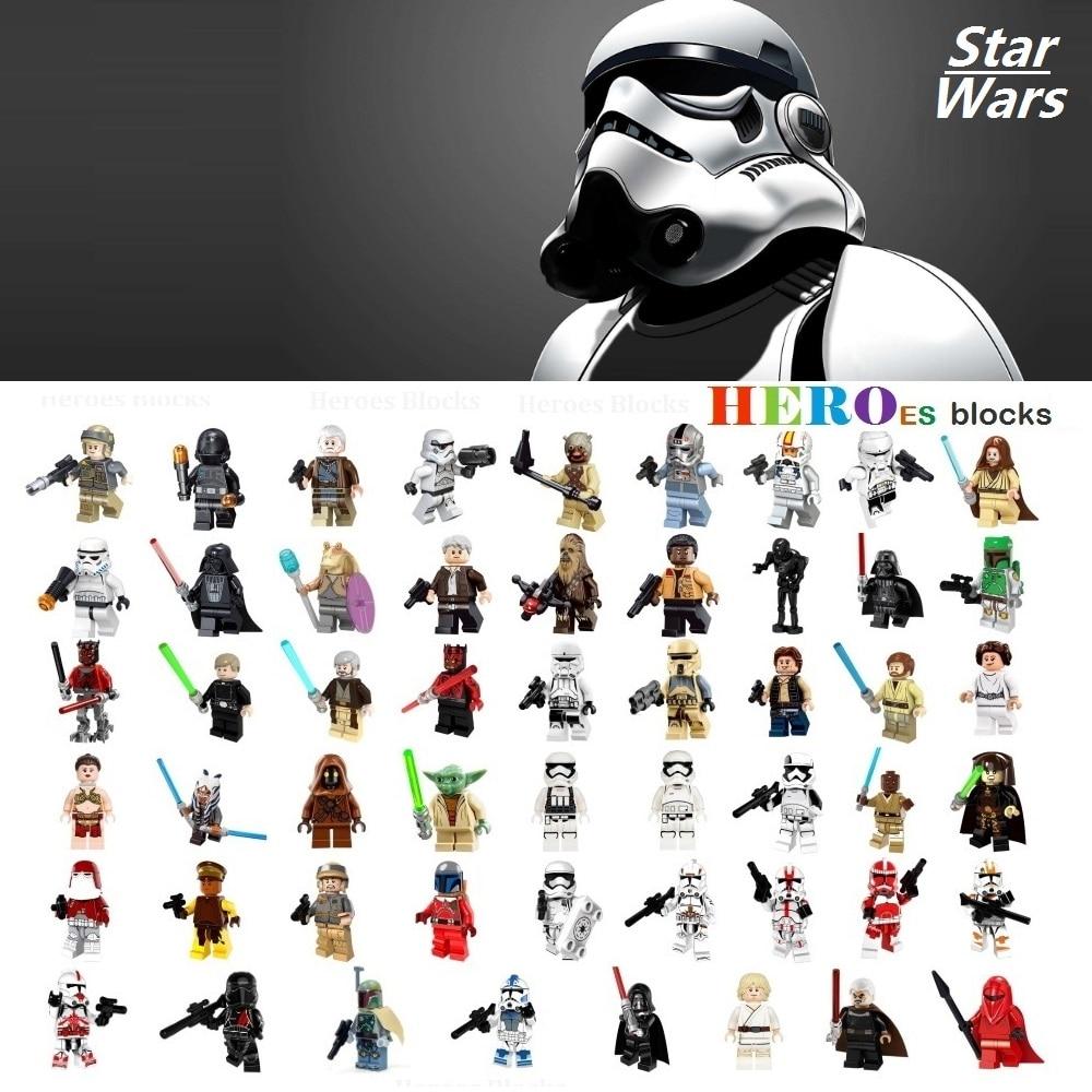 Один Star Wars Штурмовик Дарт Вейдер Хан Solo строительные блоки джедай Йода Оби Ван рисунок Кирпич игрушка подарок для детей Совместимость Legoed