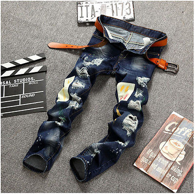 Personality Badge Patchwork Jeans Men Ripped Jeans Fashion Brand Scratched Biker Jeans Hole Denim Straight Slim Fit Casual Pants new fashion mens patchwork straight trousers men distressed ripped jeans brand scratched biker jeans denim slim fit casual pants
