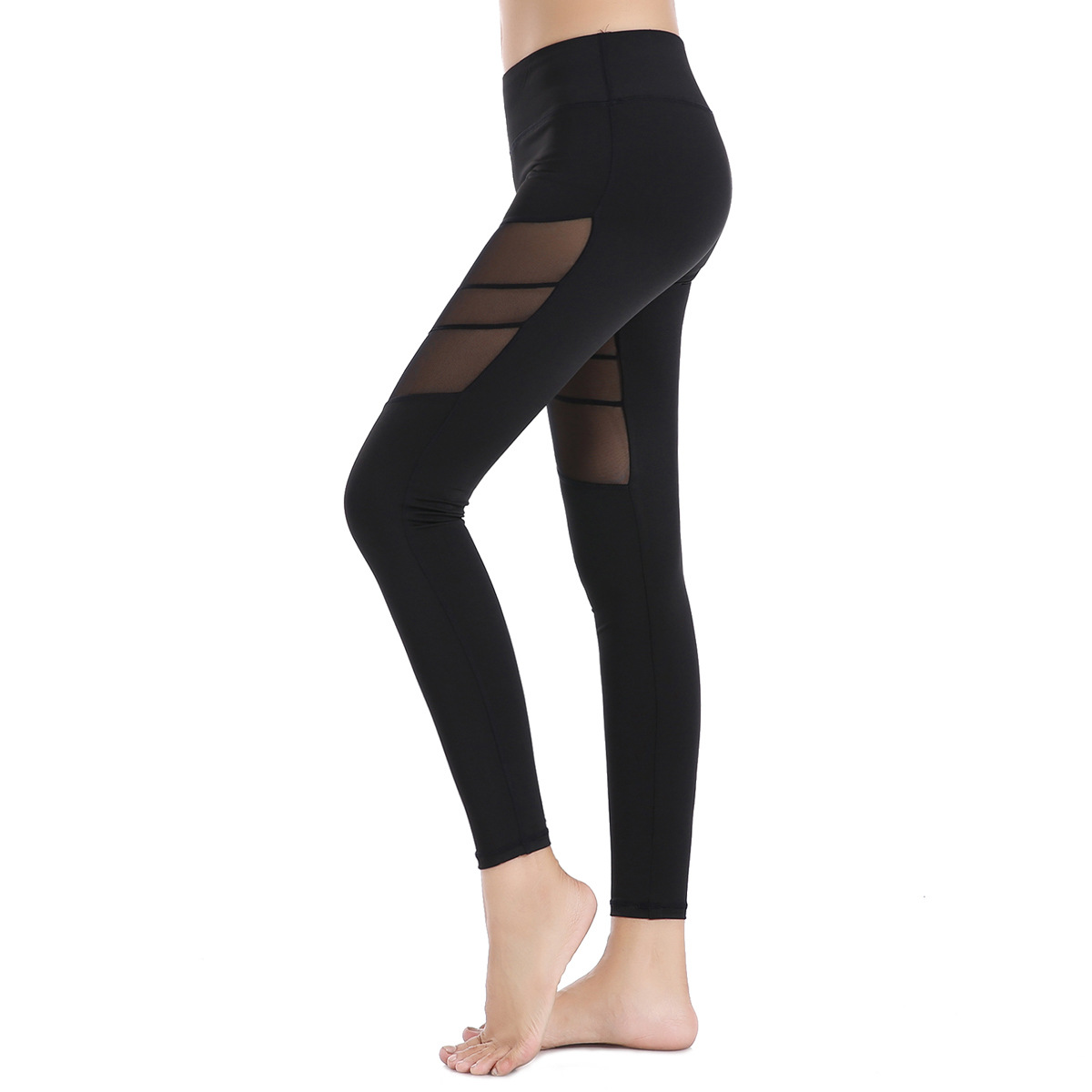 Women Yoga Compression Pants Mesh Leggings Pants Elastic Tights Sexy Pocket for Workout Gym Jogging