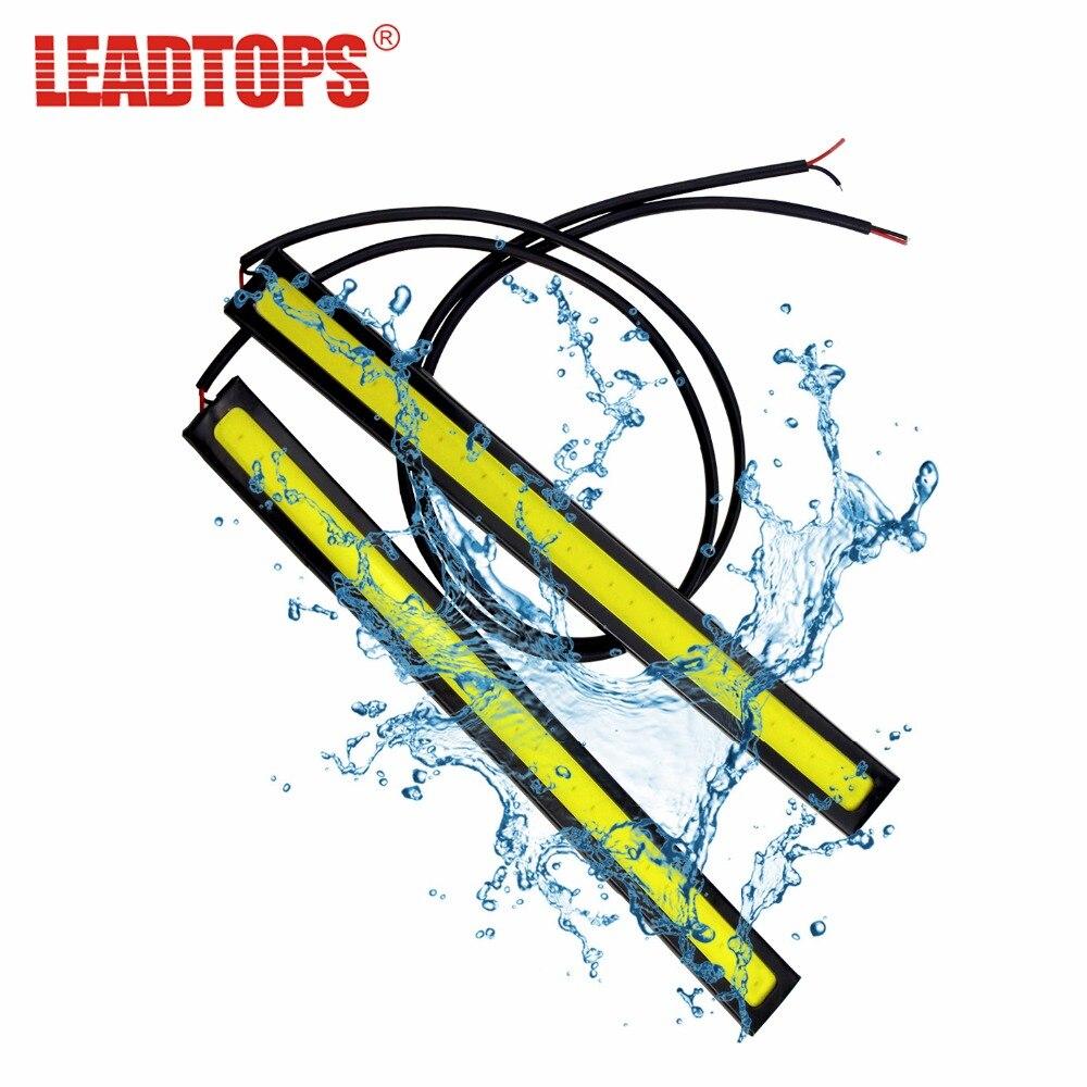LEADTOPS 1Pcs COB LED Daytime Running Lights DC 12V DRL 14 17mm Waterproof Auto Car COB Driving Fog Lamp car styling DJ