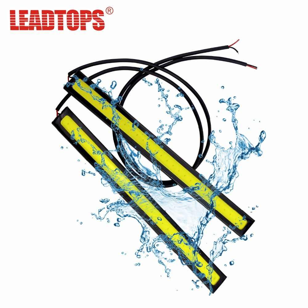 LEADTOPS 1Pcs COB LED Daytime Running Lights DC 12V DRL 14-17mm Waterproof Auto Car COB Driving Fog Lamp Car styling AJ