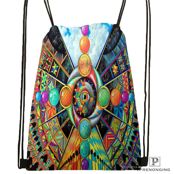 Custom Psychedelic_vision Drawstring Backpack Bag Cute Daypack Kids Satchel (Black Back) 31x40cm#2018612-01-7