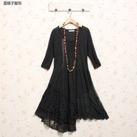 Lace Patchwork Irregular Long Sleeve Handmade Crochet Dress Spain Euro Inverno Tunique Femme Plus Size Women