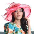 Free Shipping Fashion and New Women Hat Elegant Summer Hat Sinamay Fabric With Organza Women Hats Hot Red Ruffle Organza Brim