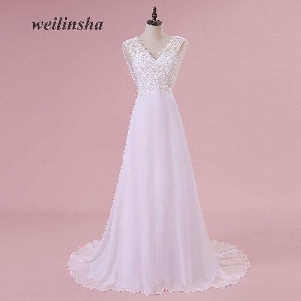 ①Weilinsha en stock 2018 vestidos de boda elegante playa de la gasa ...