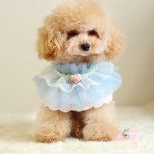 Милый перламутровый кружевной тканевый ошейник для питомца собаки нагрудник шейный платок бандана шарф кошка шейный ремень Регулируемый