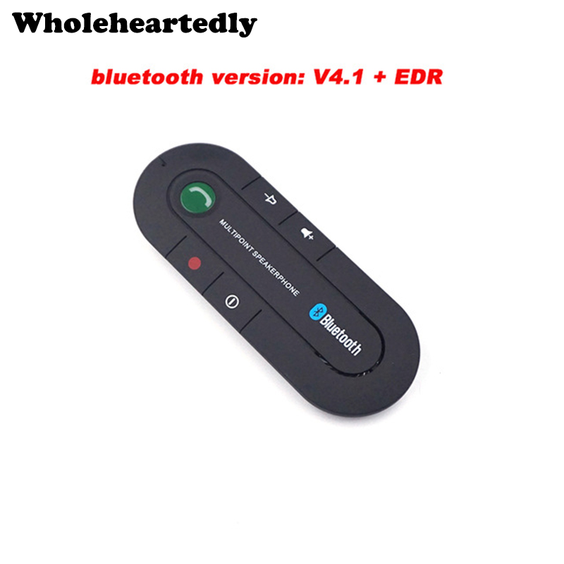 Chegada nova multiponto speakerphone bluetooth 4.1 handsfree car kit fm transmissor receptor de música mp3 para telefone inteligente