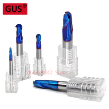 Free delivery HRC65 nano-coated carbide ball end milling cutter 2 straight handle round slot